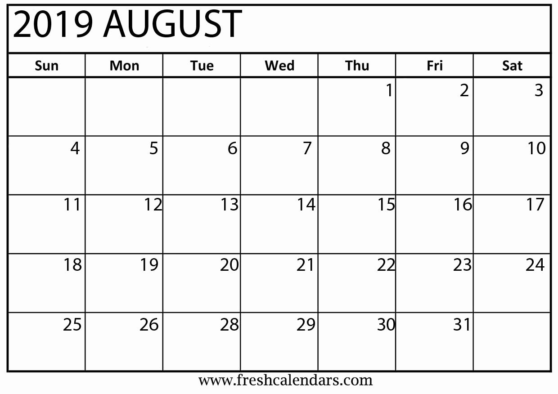 2019 Monthly Calendar Template Elegant August 2019 Calendar Printable Fresh Calendars