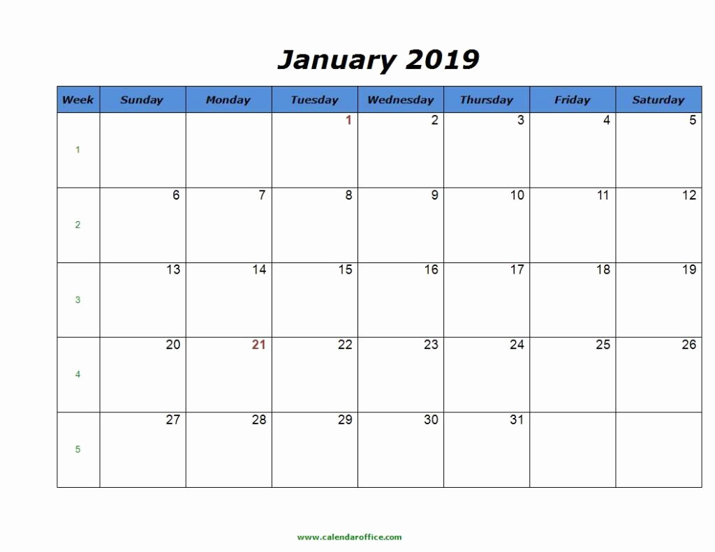 2019 Monthly Calendar Template Elegant Free January 2019 Calendar In Printable format Templates
