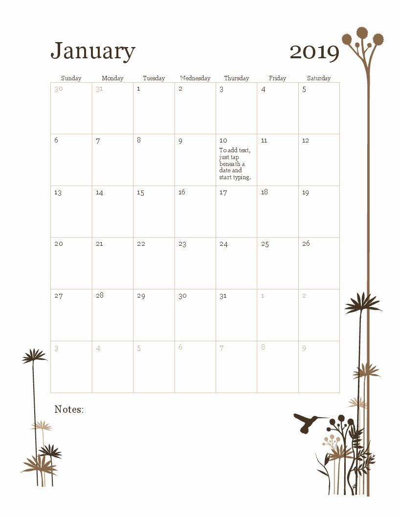 2019 Monthly Calendar Template Fresh 2019 12 Month Calendar Sun Sat