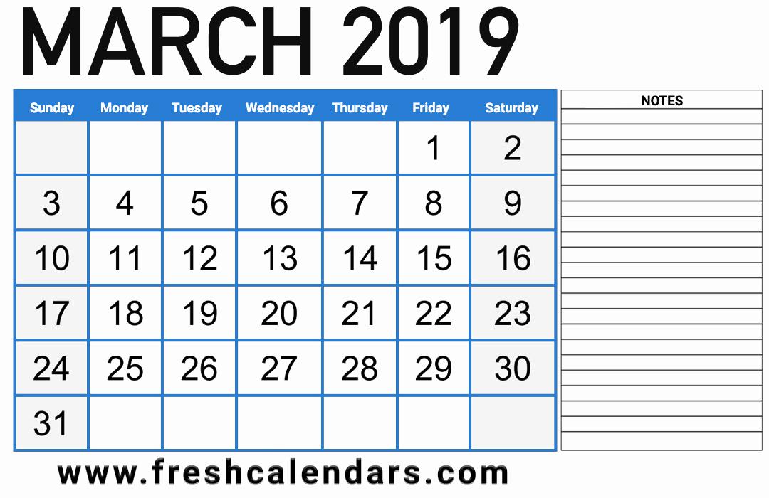 2019 Monthly Calendar Template Fresh March 2019 Calendar Printable Fresh Calendars