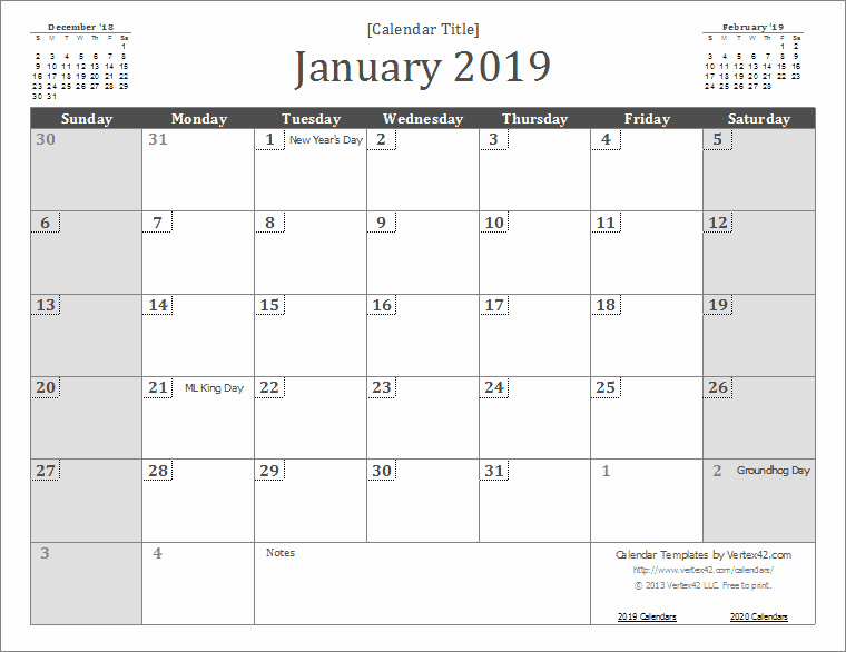 2019 Monthly Calendar Word Awesome 2019 Calendar Templates and