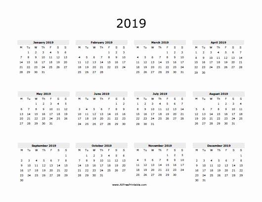 2019 Monthly Calendar Word Awesome 2019 Calendar Word
