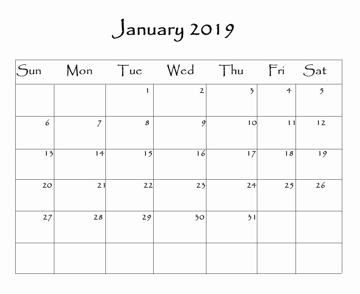 2019 Monthly Calendar Word Awesome January 2019 Calendar Word
