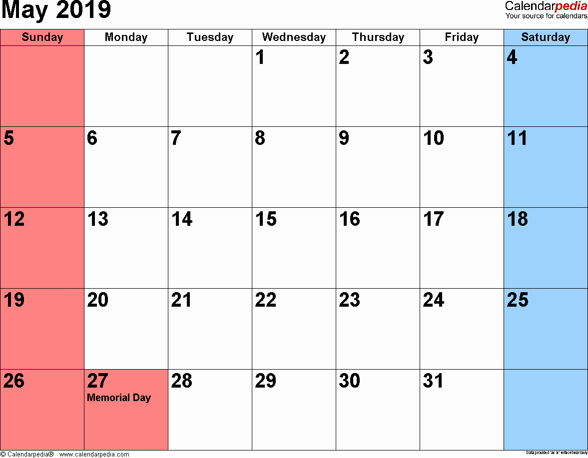 2019 Monthly Calendar Word Awesome May 2019 Calendars for Word Excel & Pdf