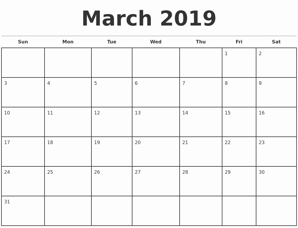 2019 Monthly Calendar Word Beautiful 2019 Monthly Calendar Template