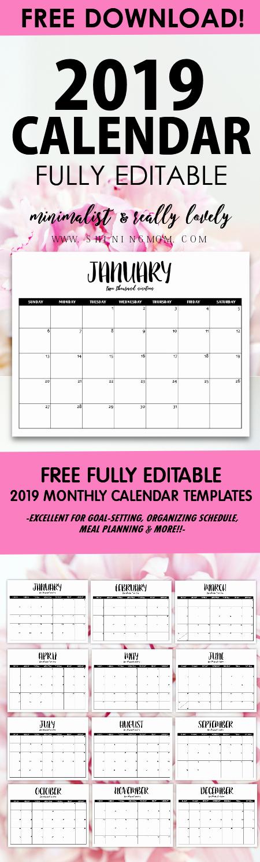 2019 Monthly Calendar Word Beautiful Free Fully Editable 2019 Calendar Template In Word