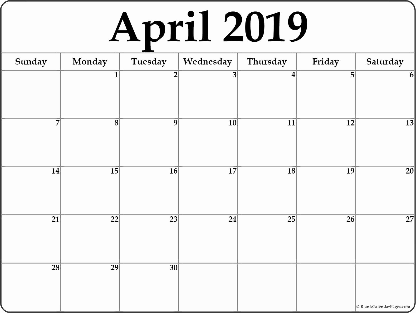 2019 Monthly Calendar Word Best Of Blank April 2019 Calendar Printable