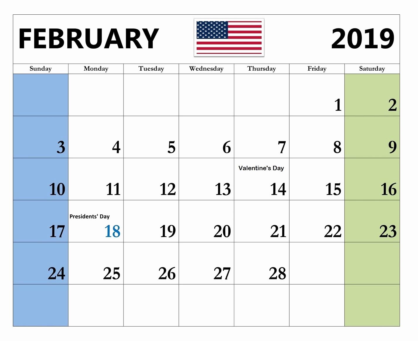 2019 Monthly Calendar Word Best Of February 2019 Calendar Word