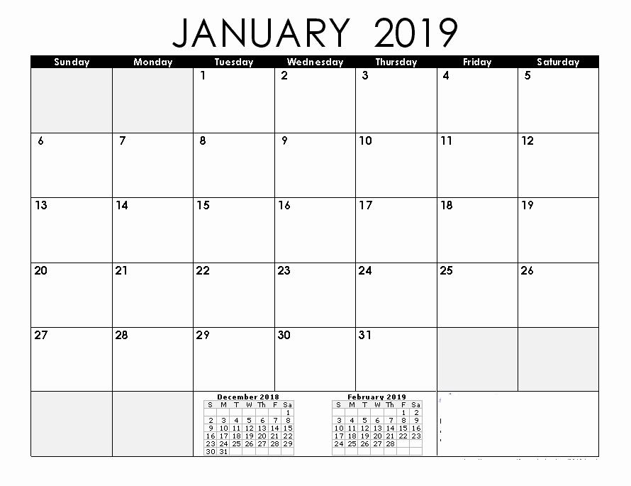2019 Monthly Calendar Word Best Of January 2019 Calendar 2019 Calendar Printable with