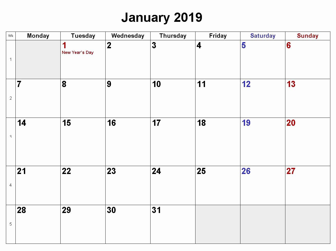 2019 Monthly Calendar Word Elegant January 2019 Calendar Download In Word Excel Pdf formats