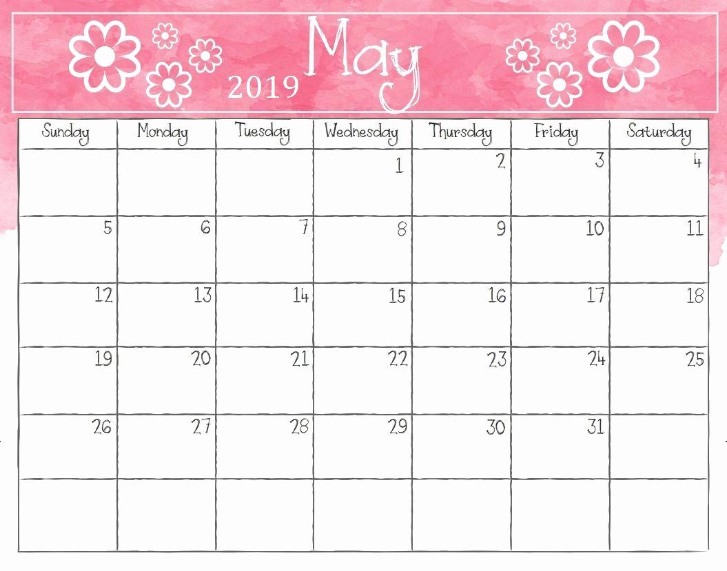 2019 Monthly Calendar Word Elegant May 2019 Weekly Calendar Printable Blank Templates