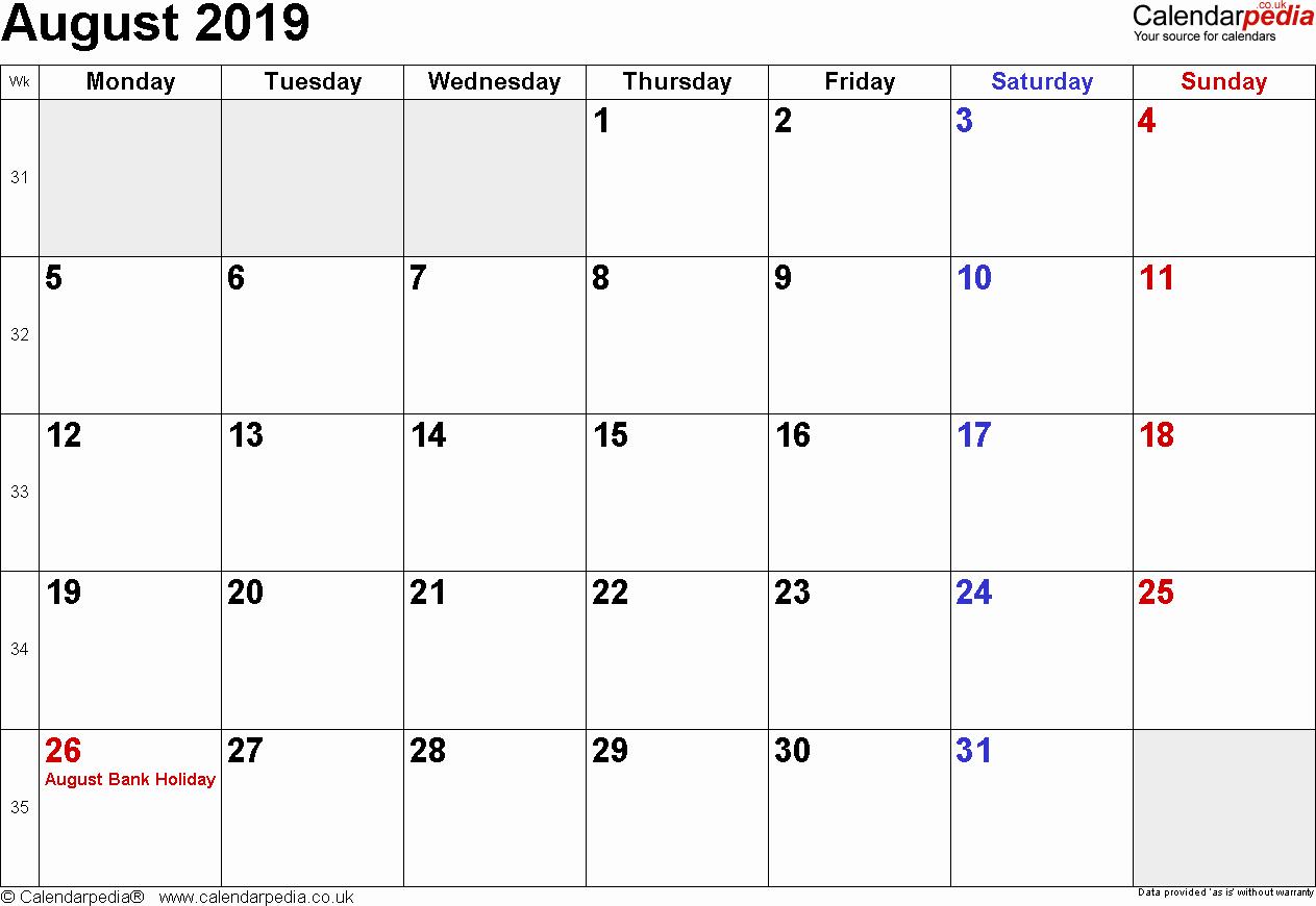 2019 Monthly Calendar Word Fresh Calendar August 2019 Uk Bank Holidays Excel Pdf Word