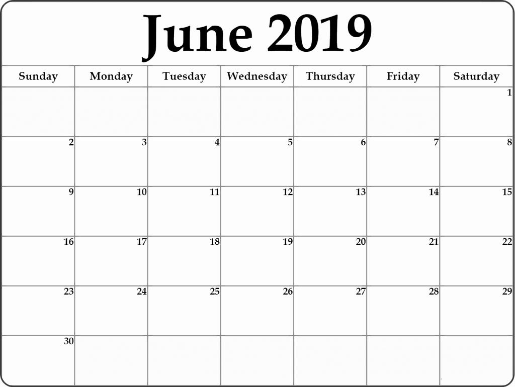 2019 Monthly Calendar Word Fresh Free June 2019 Printable Calendar Templates Pdf Word Excel