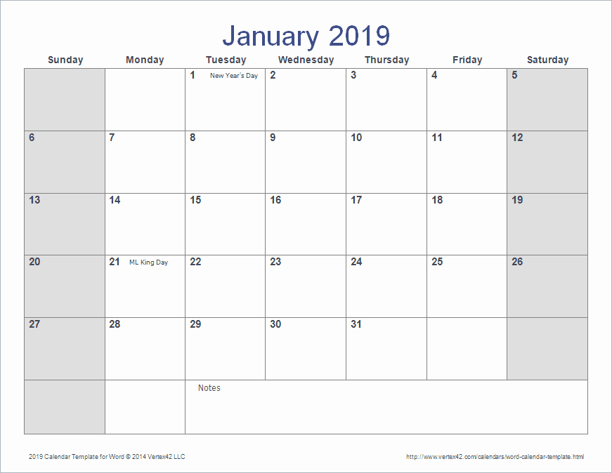 2019 Monthly Calendar Word Inspirational Word Calendar Template for 2016 2017 and Beyond