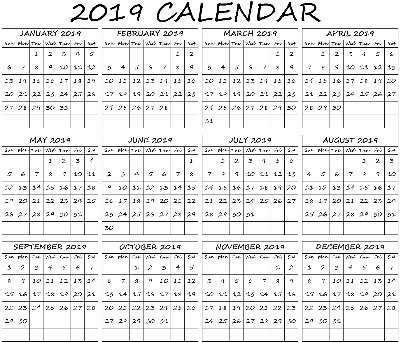 2019 Monthly Calendar Word Inspirational Yearly Calendar Word Template 2019