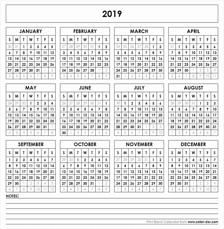 2019 Monthly Calendar Word Unique 2019 Printable Calendar Yearly Calendar