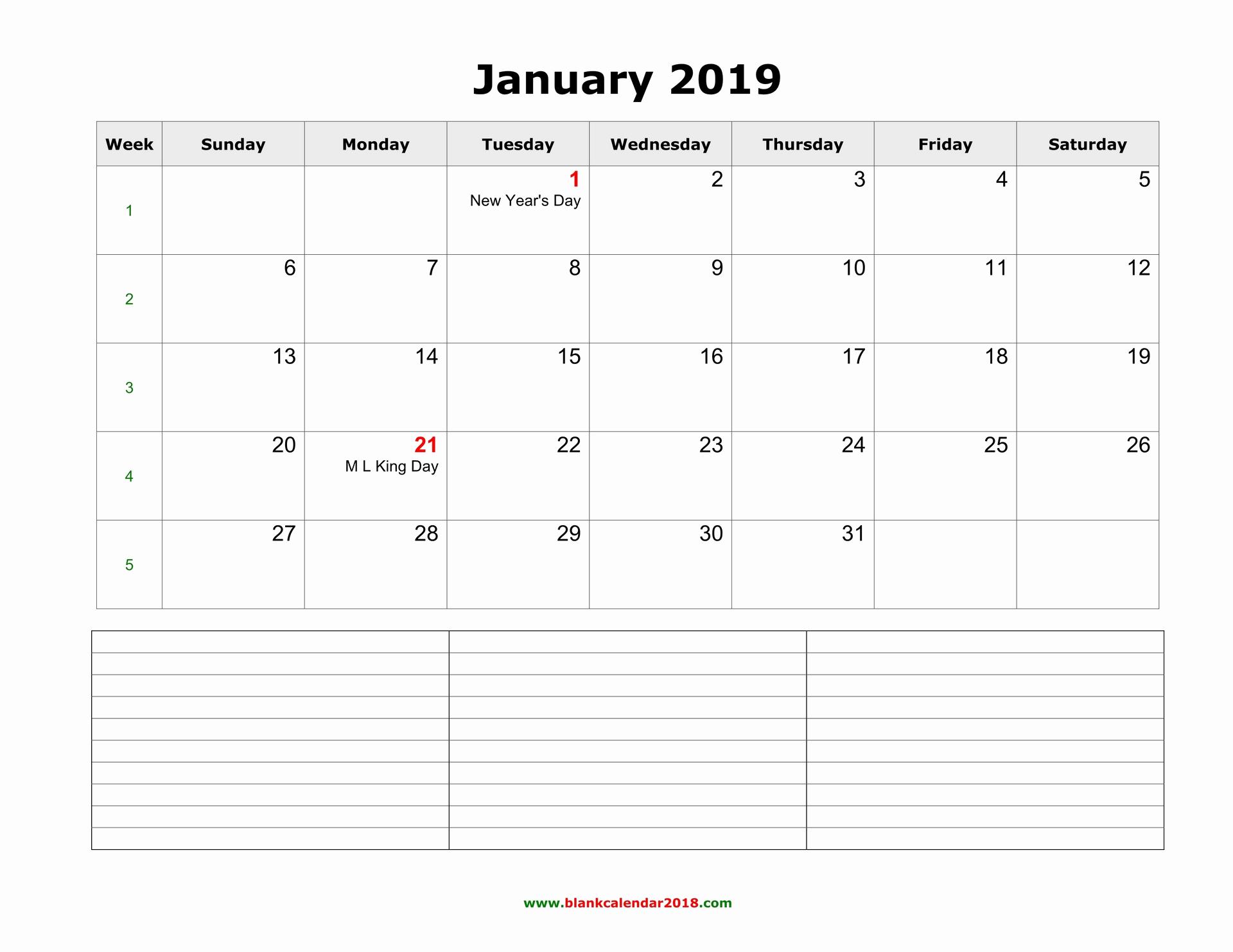 2019 Monthly Calendar Word Unique Blank Calendar 2019