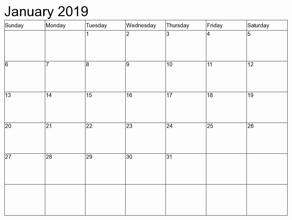 2019 Monthly Calendar Word Unique January 2019 Calendar 2019 Calendar Printable with