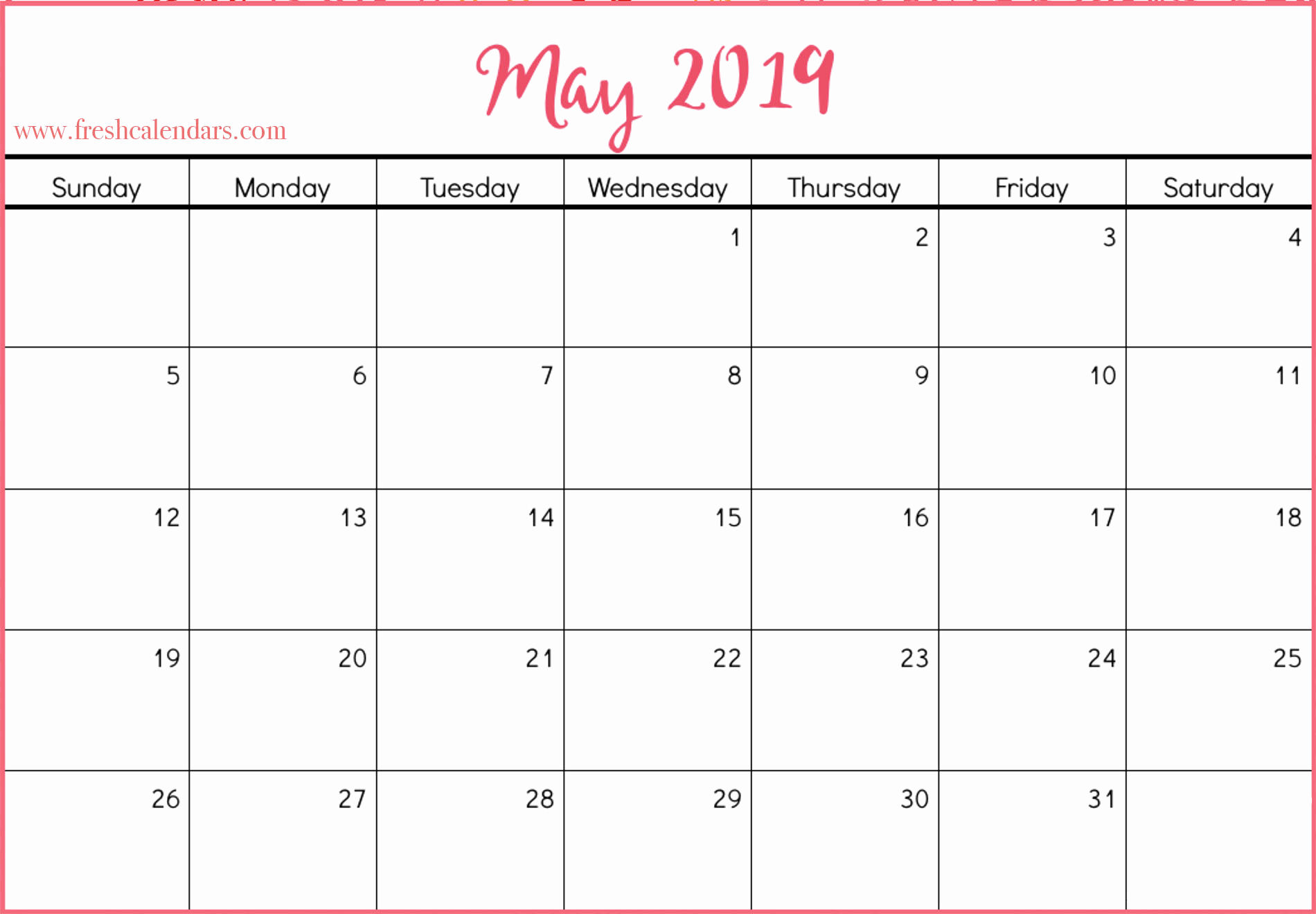 2019 Monthly Calendar Word Unique May 2019 Calendar Printable Fresh Calendars