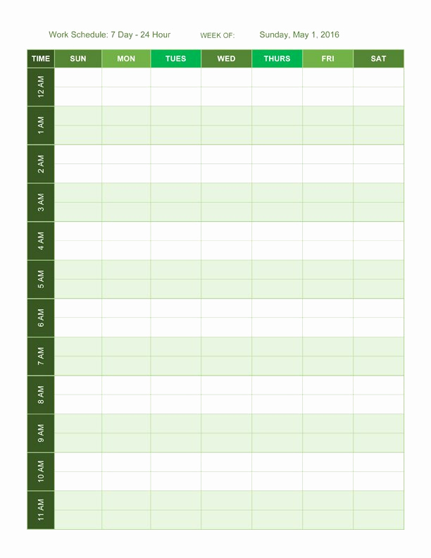 24 Hour Schedule Template Awesome Free Work Schedule Templates for Word and Excel