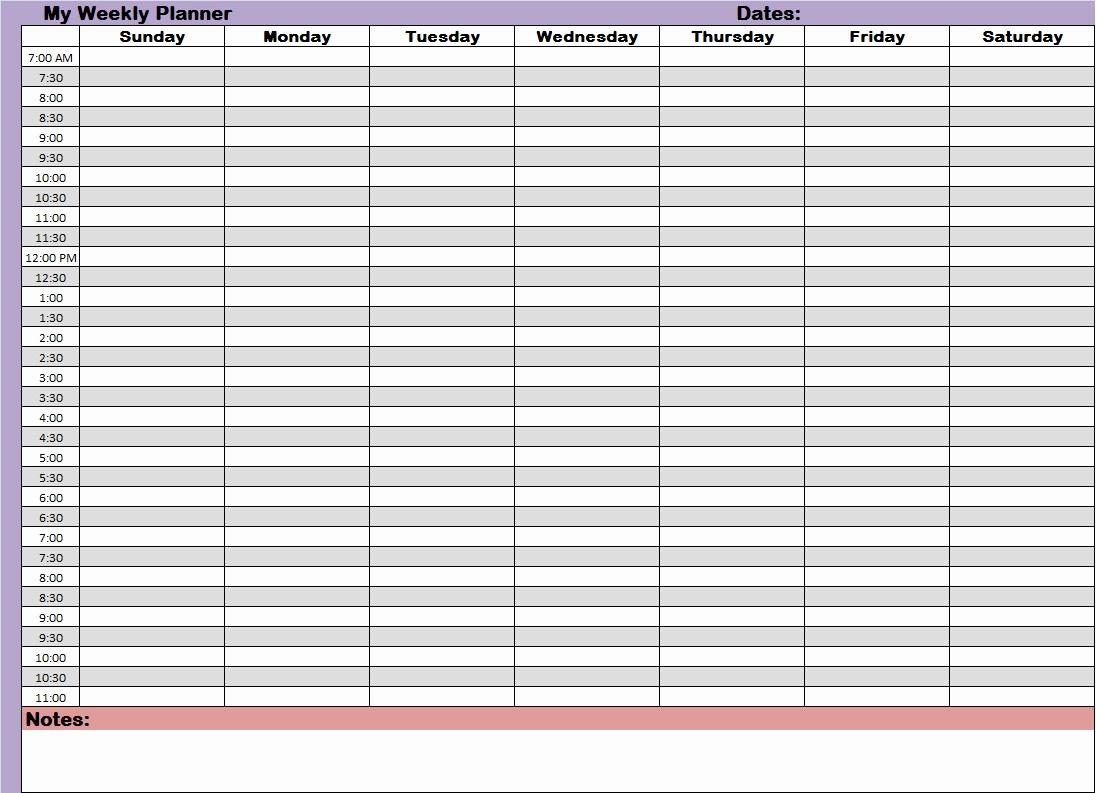 24 Hour Schedule Template Elegant Free 24 Hour Weekly Calendar Printable