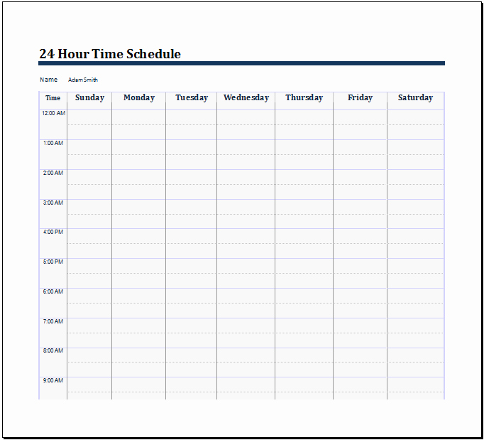 24 Hour Schedule Template Luxury 28 Of 24 Hourly Schedule Template