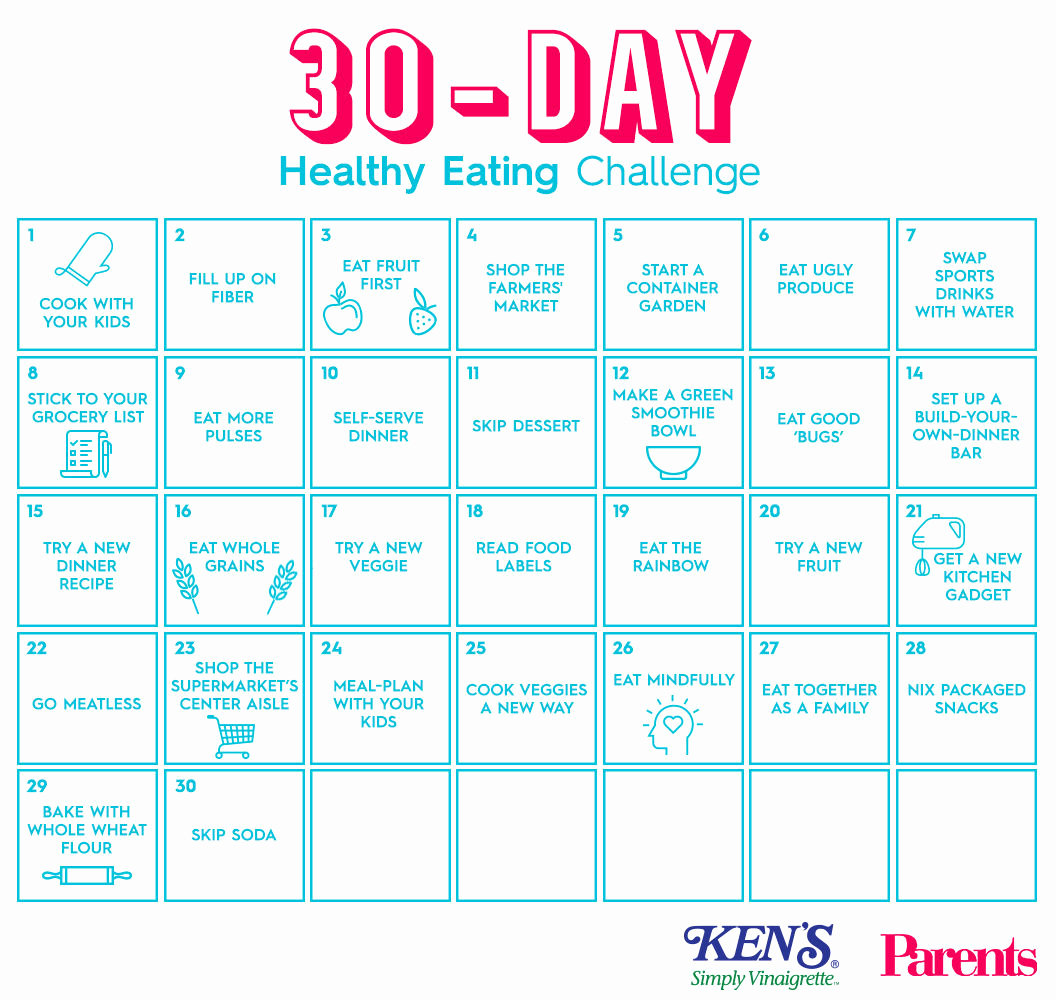 30 Day Calendar Template Awesome the 30 Day Healthy Eating Challenge