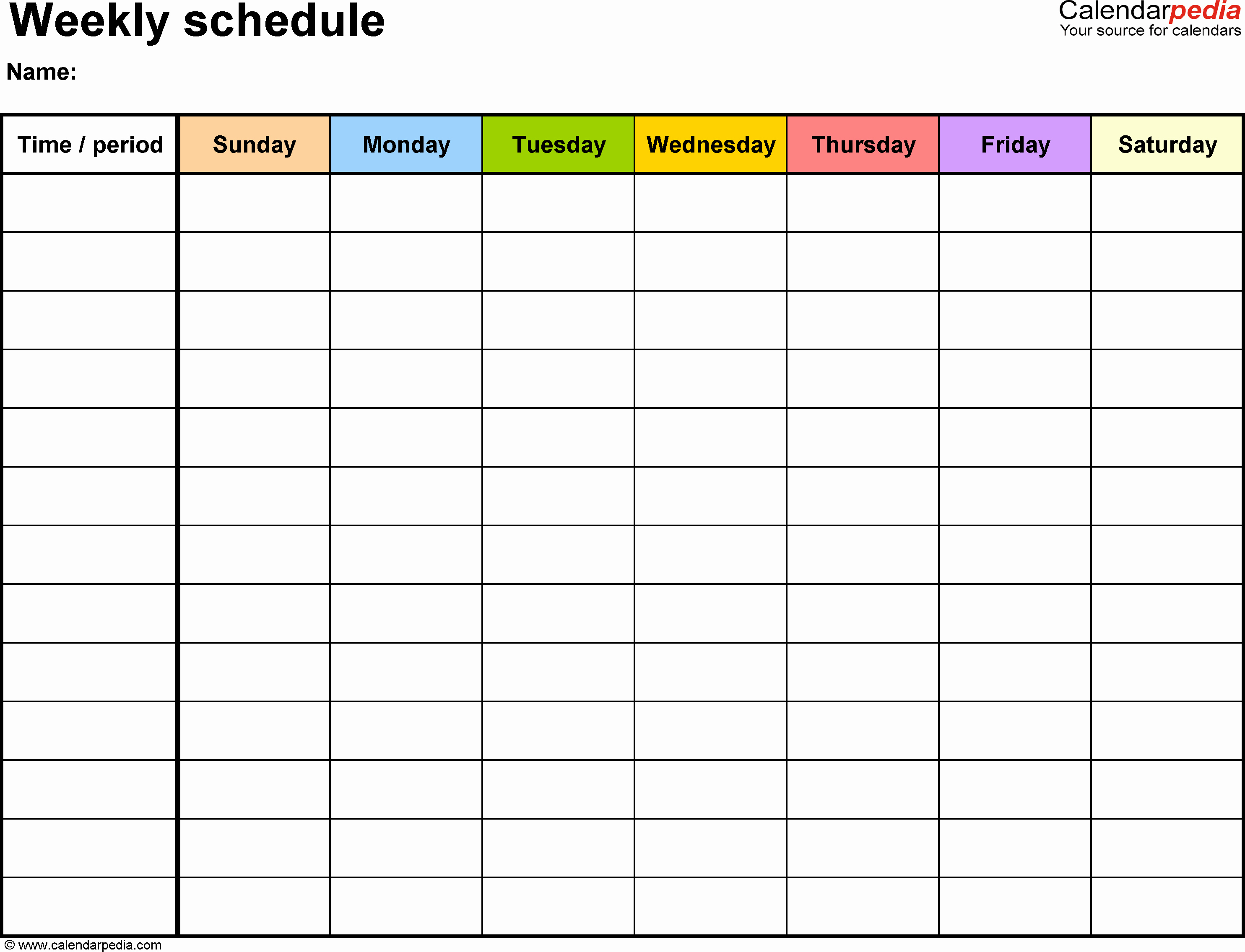 30 Day Calendar Template Beautiful Weekly Schedule Template for Word Version 13 Landscape 1
