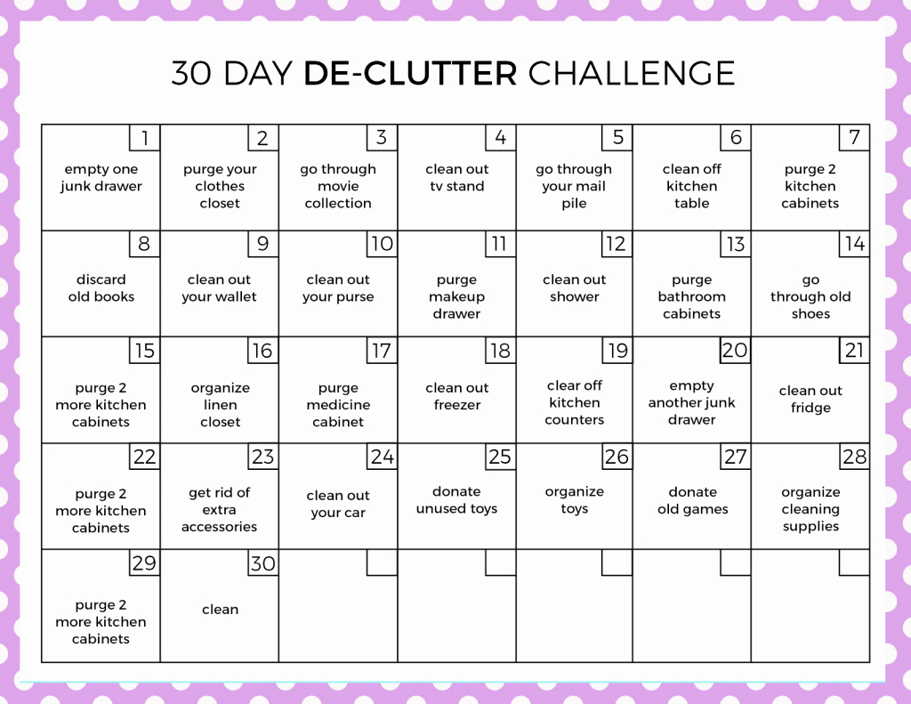 30 Day Calendar Template Elegant 30 Day Declutter Challenge Love and Marriage