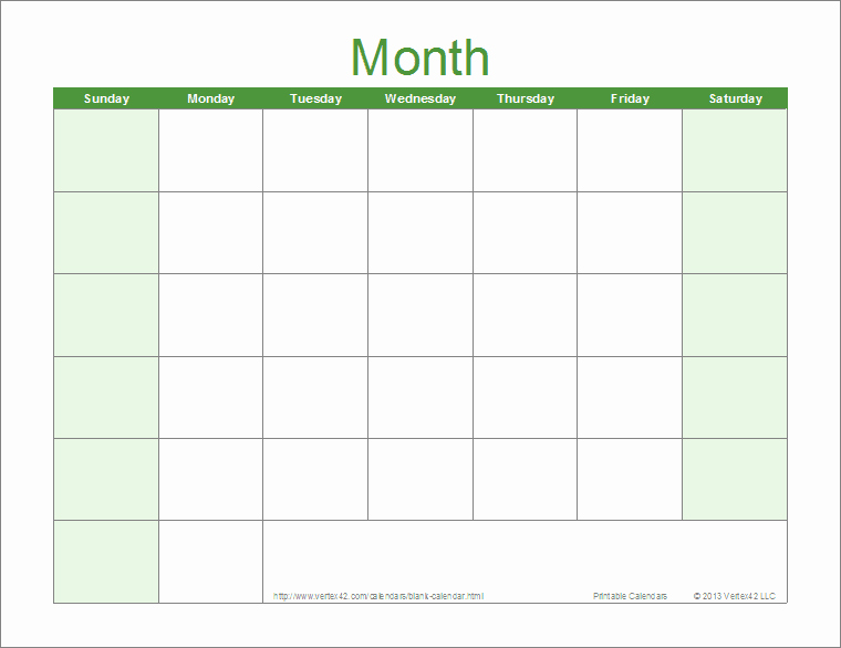 30 Day Calendar Template Elegant Blank 30 Day Calendar