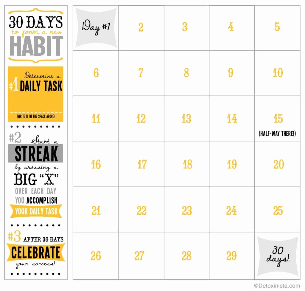 30 Day Calendar Template Unique 30 Day Printable Calendar
