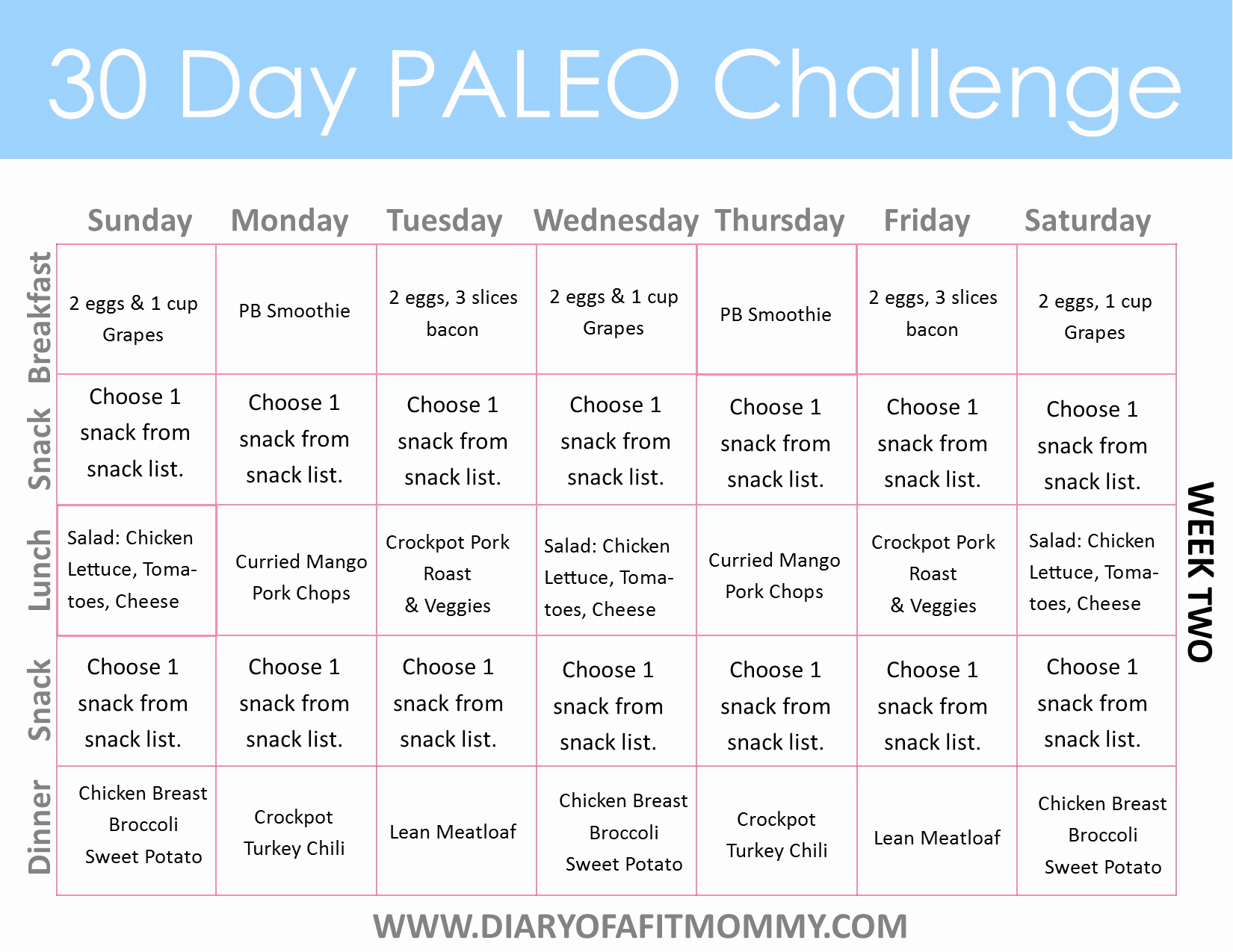 30 Day Diet Meal Plan Lovely 30 Day Paleo Challenge Diary Of A Fit Mommy