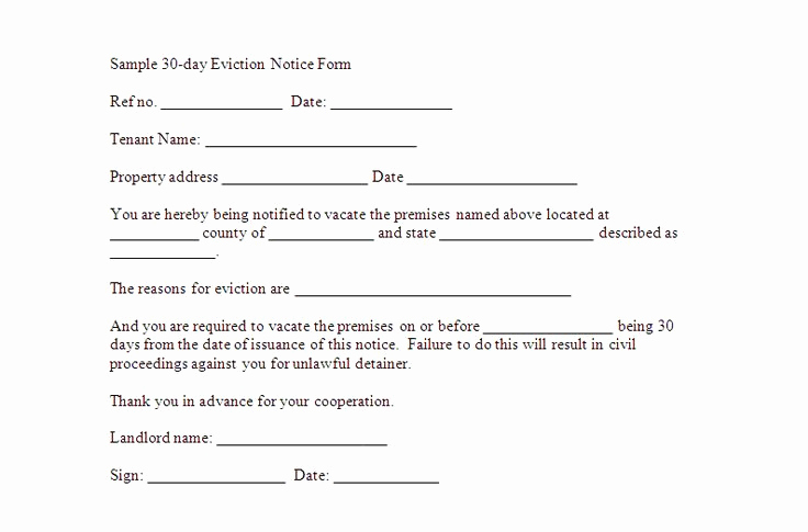 30 Day Eviction Notice form Elegant Free Downloadable Eviction forms