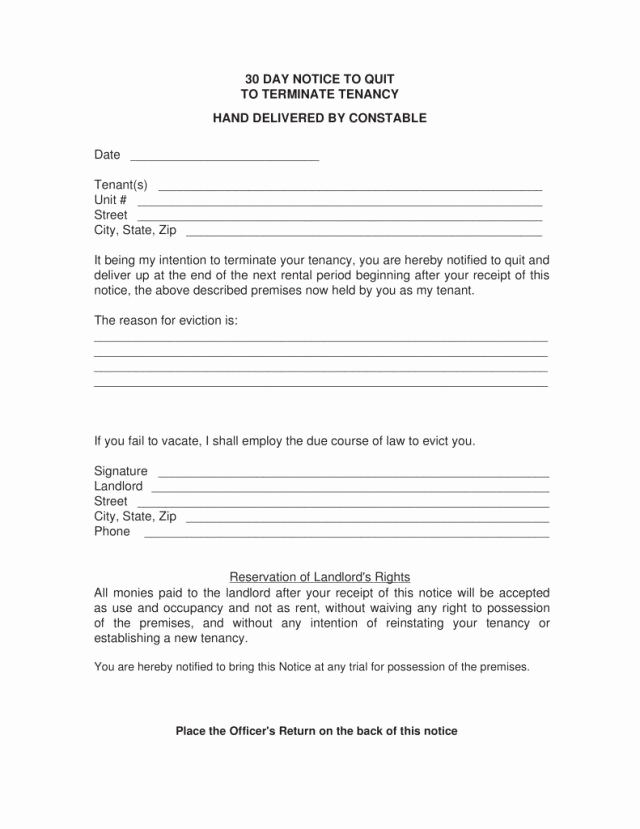 30 Day Eviction Notice form Fresh 15 30 Day Eviction Notice Pdf