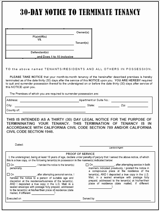 30 Day Eviction Notice form Fresh 30 Day Eviction Notice