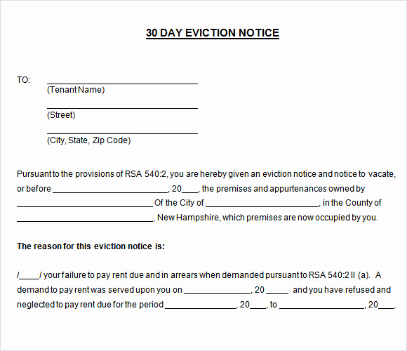 30 Day Eviction Notice form Fresh Sample 30 Day Notice Template 10 Free Documents In Pdf