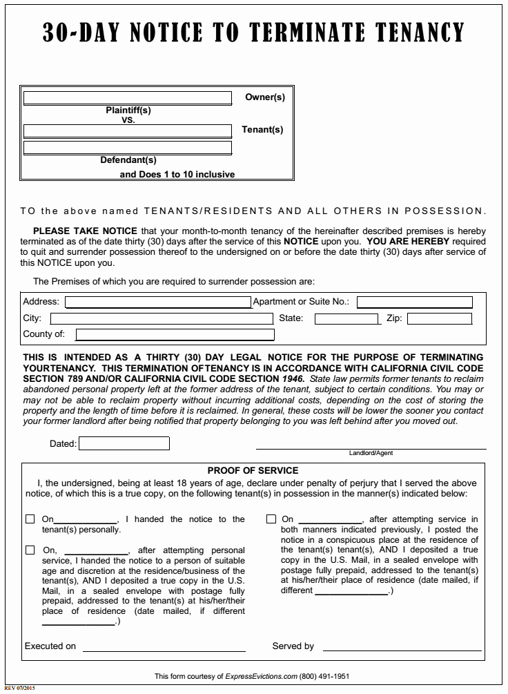 printable eviction notice california