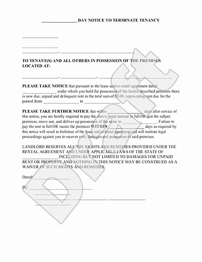 30 Day Eviction Notice form Unique 30 Day Eviction Notice