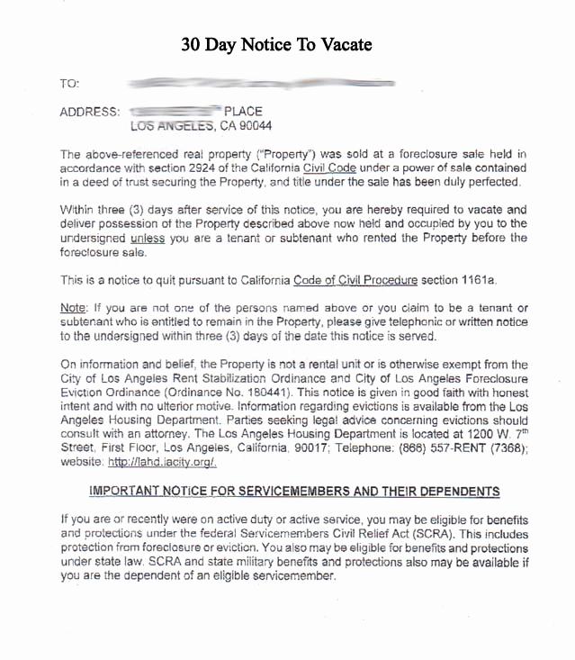 30 Day Eviction Notice Pdf Beautiful 30 Day Notice to Vacate Letter