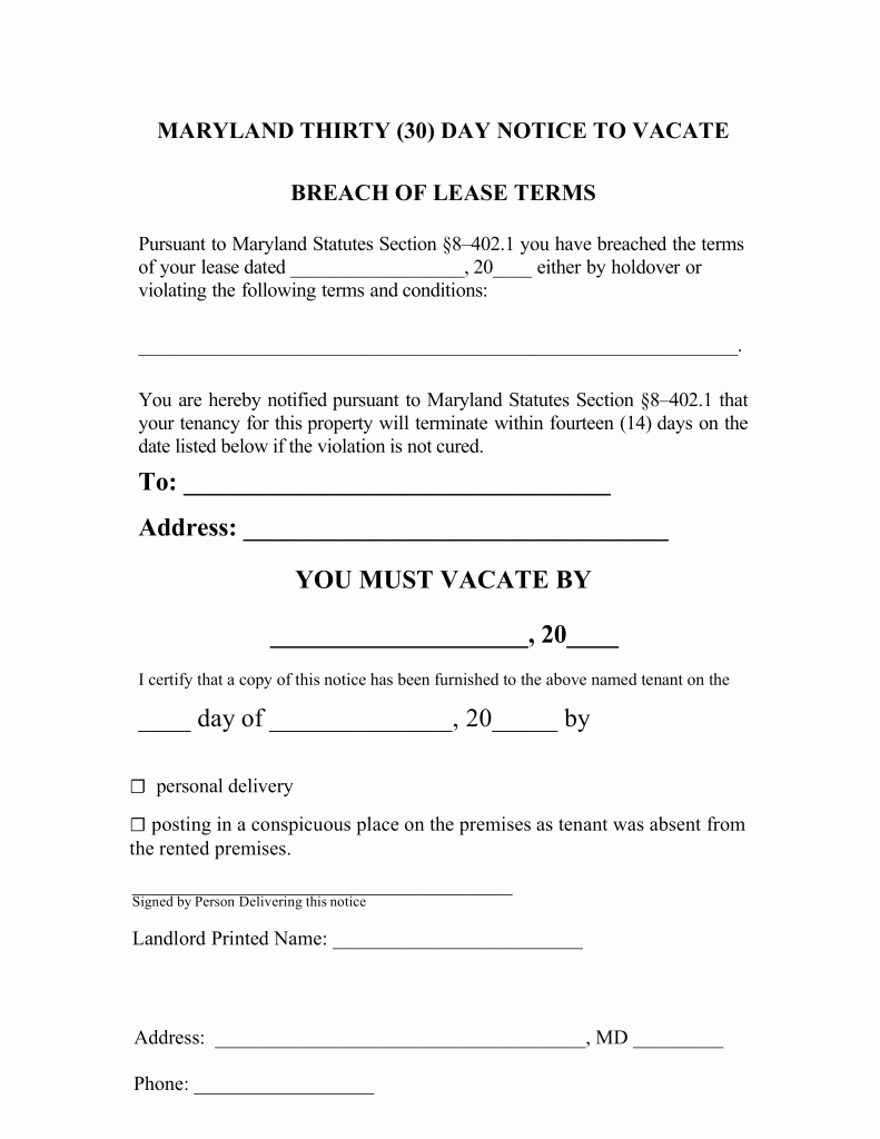 30 Day Eviction Notice Pdf Beautiful Maryland 30 Day Notice to Quit form