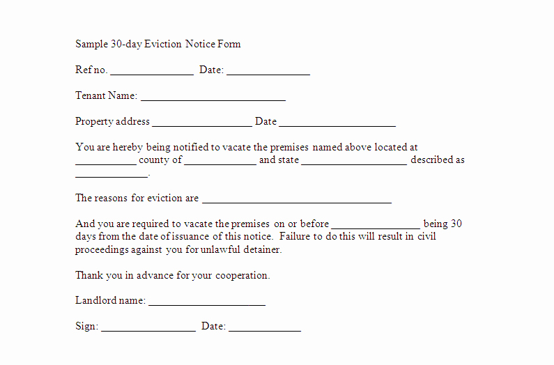 30 Day Eviction Notice Pdf Best Of Free Downloadable Eviction forms