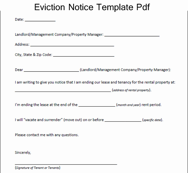 30 Day Eviction Notice Pdf Inspirational Eviction Notice form