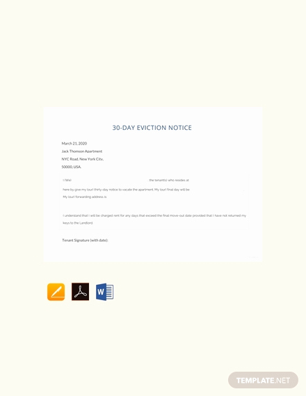 30 Day Eviction Notice Pdf Lovely Free 30 Day Eviction Notice Template Download 64 Notices