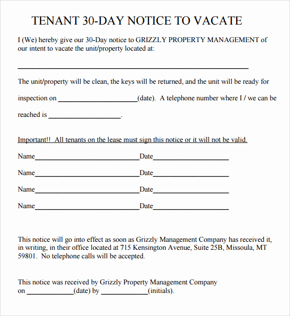 30 Day Notice Template Luxury 24 Free Eviction Notice Templates Excel Pdf formats