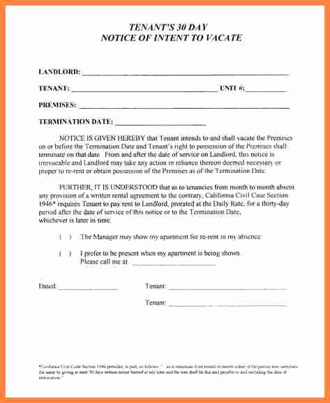 30 Day Notice Template New 10 Example Of 30 Day Notice to Tenant