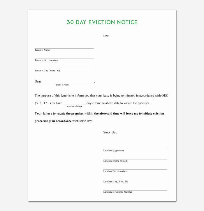30 Day Notice Template New Eviction Notice Template 5 Blank Notices for Word Pdf