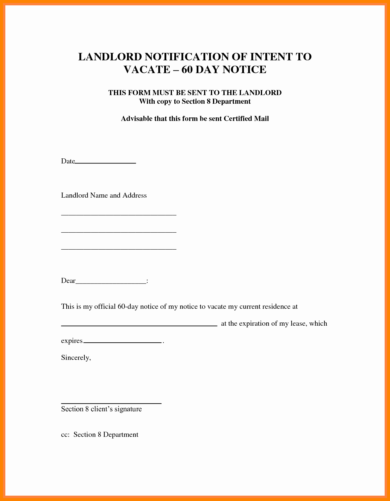 30 Days Notice Letter Awesome 30 Day Notice to Vacate Letter
