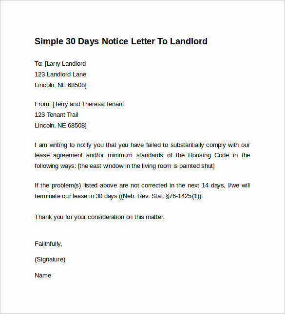 30 Days Notice Letter Beautiful 10 Sample 30 Days Notice Letters to Landlord In Word