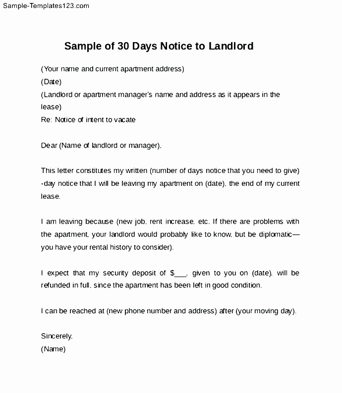 30 Days Notice Letter Beautiful 15 30 Days Notice Letter to Landlord