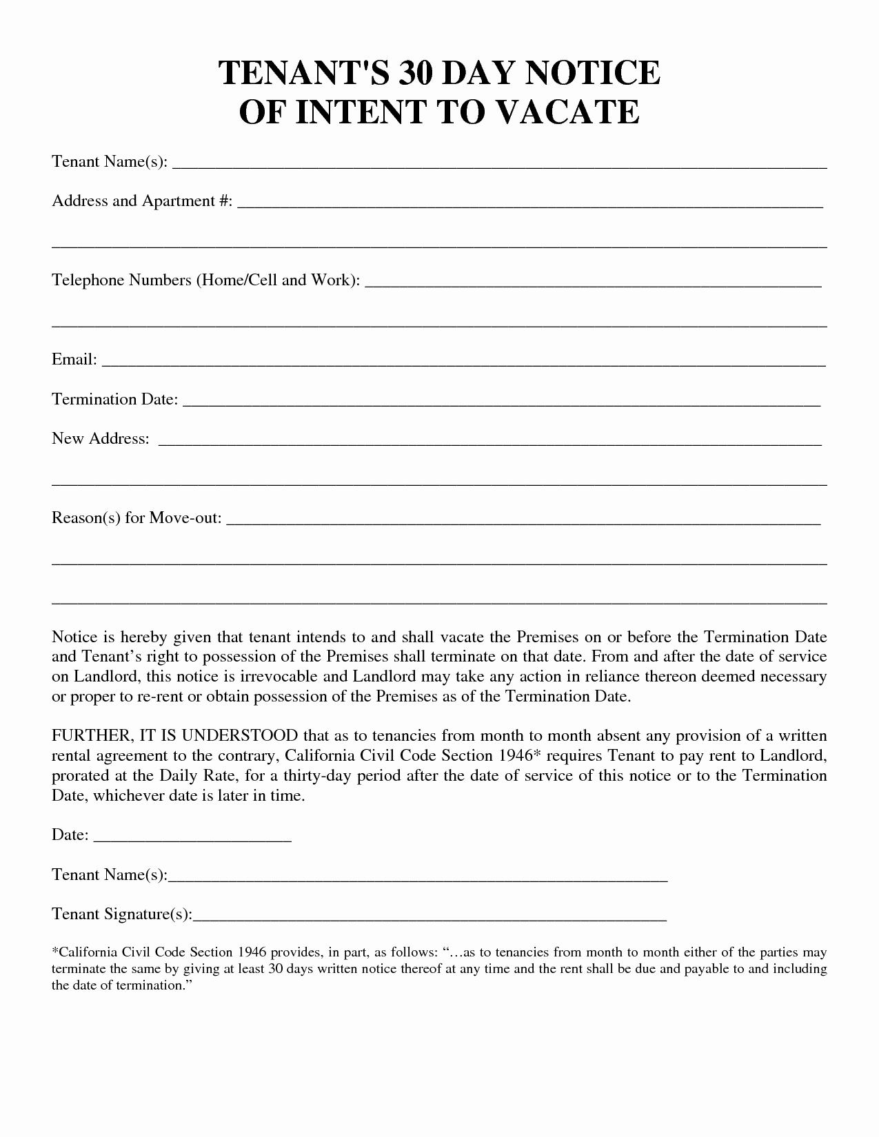 30 Days Notice Letter Elegant 30 Day Notice to Vacate Template